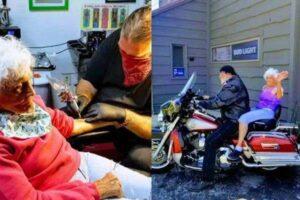 Senhora de 103 anos faz 1ª tatuagem e completa lista de desejos