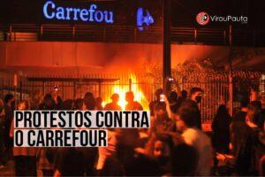 Manifestantes atacam lojas do Carrefour, após seguranças espancarem rapaz negro até a morte